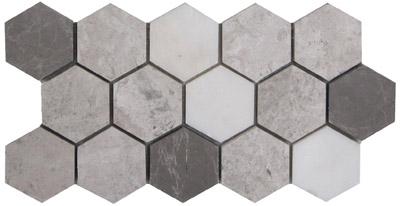 Royal Grey Hexagon 4 Honed 225359 Silver Sand Afyon White